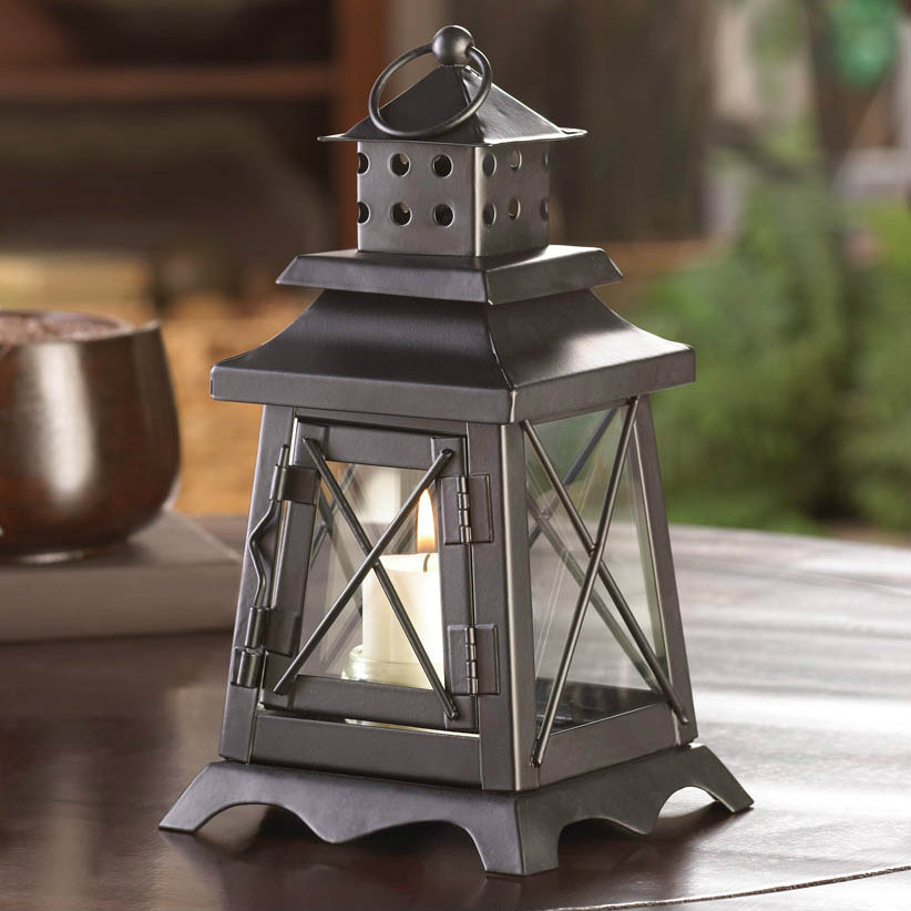 Black Lighthouse Style Candle Lantern - 9 inches
