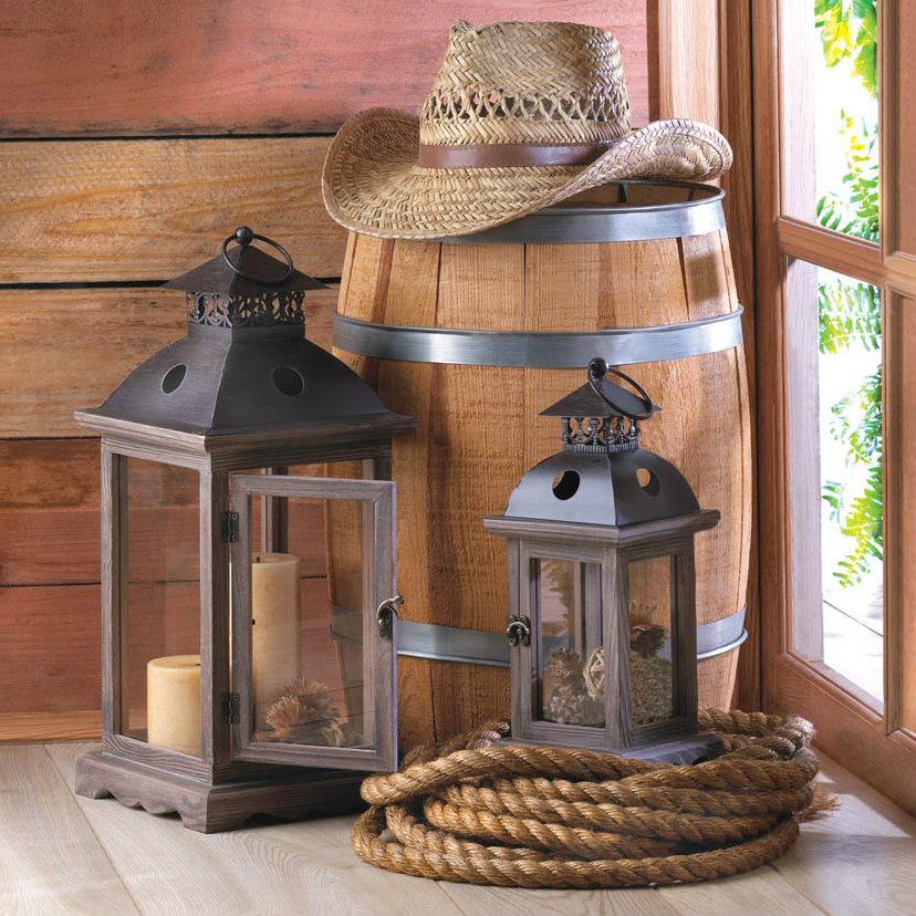 Wood Frame Candle Lantern - 18.5 inches