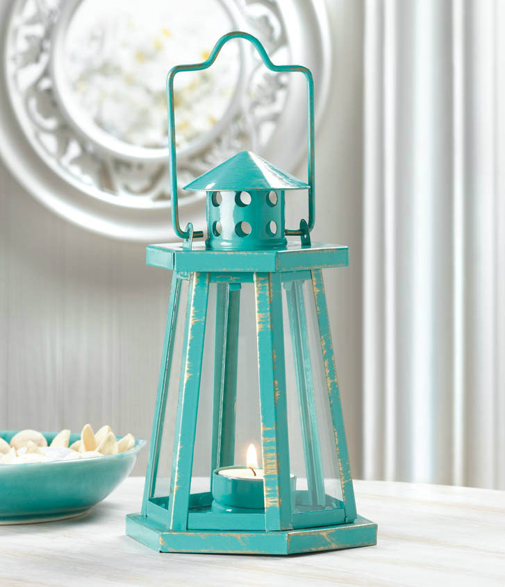 Distressed Aqua Lighthouse Lantern - 8 inches