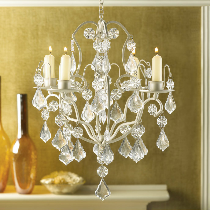Jeweled Ivory Candle Chandelier