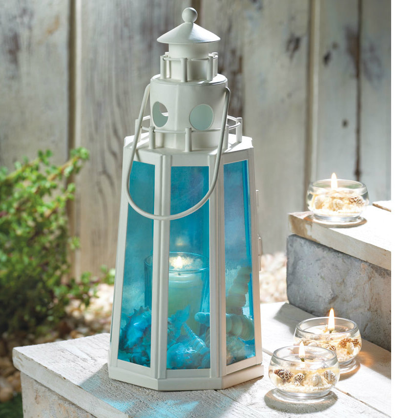 Blue Glass Lighthouse Candle Lantern