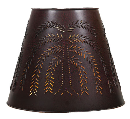 "8"" x 15"" x 12"" Tin Washer Top Lamp Shade - Willow - Crackle Black/Red"