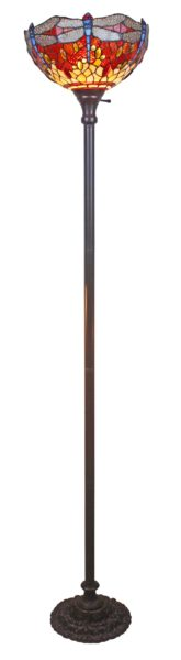 AM Tiffany Style Dragonfly Torchiere Floor Lamp 72 In