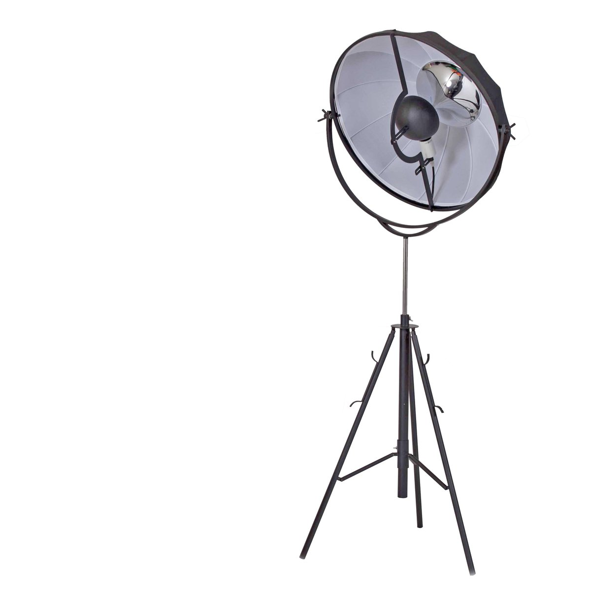 BM191460 - Adjustable Metal Floor Lamp With Fabric Shade And Tripod Feet, Large, Black