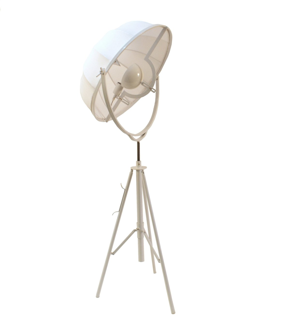 BM191461 - Adjustable Metal Floor Lamp With Fabric Shade And Tripod Feet, Large, White