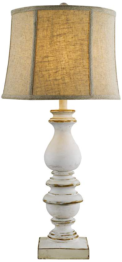Bishop White Table Lamp Tan Linen Shade DELIVERY DATE JUNE 2020