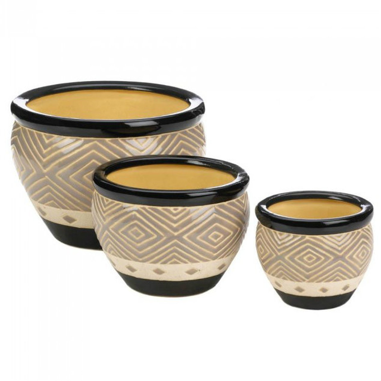 Black Ceramic Diamond Pattern Planter Set