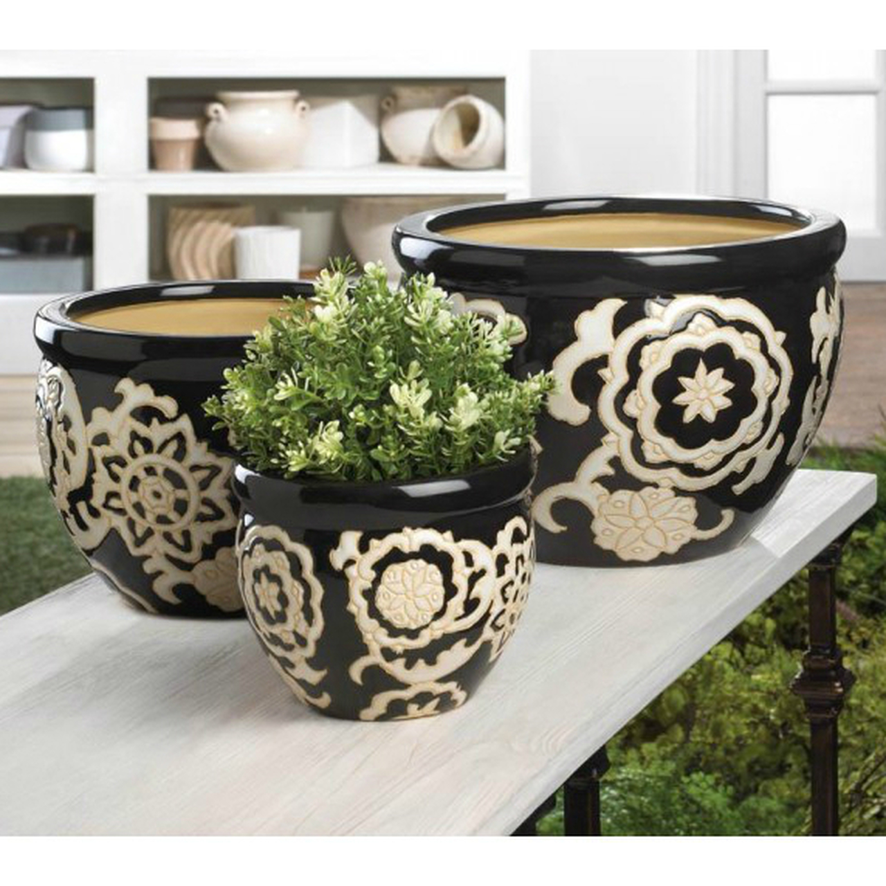 Black Floral Ceramic Planter Set