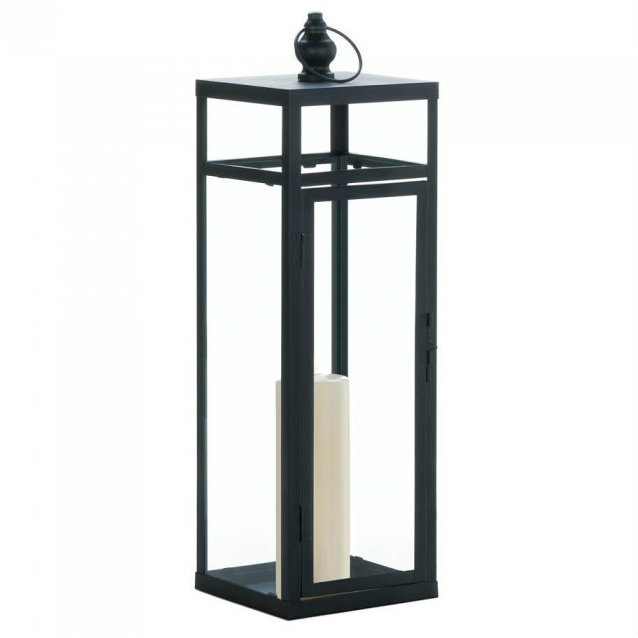 Black Geometric Lantern - 22.5 inches