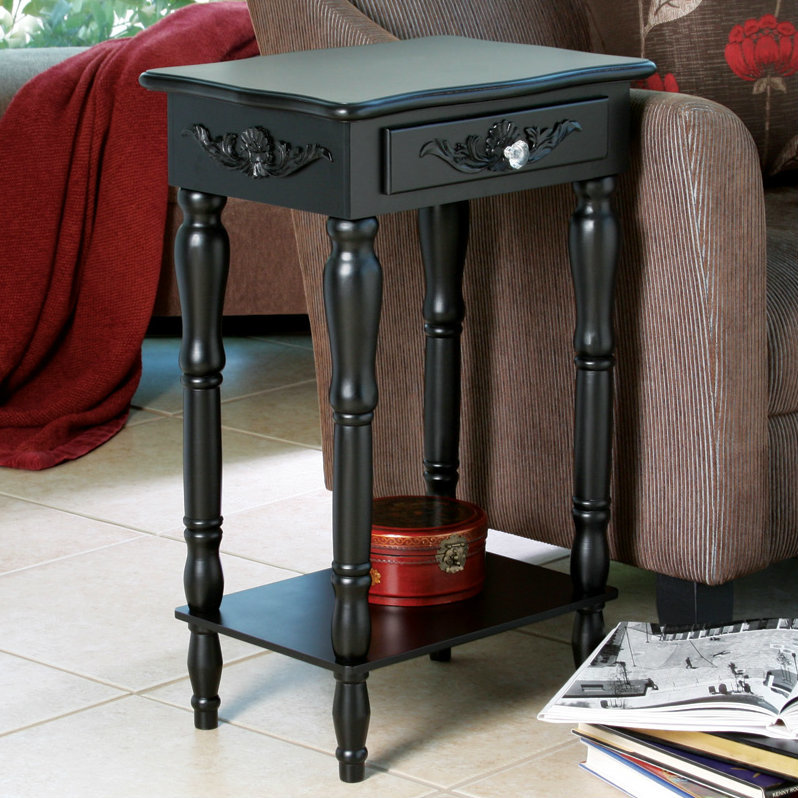 Black Side Table with Crystal Drawer Pull