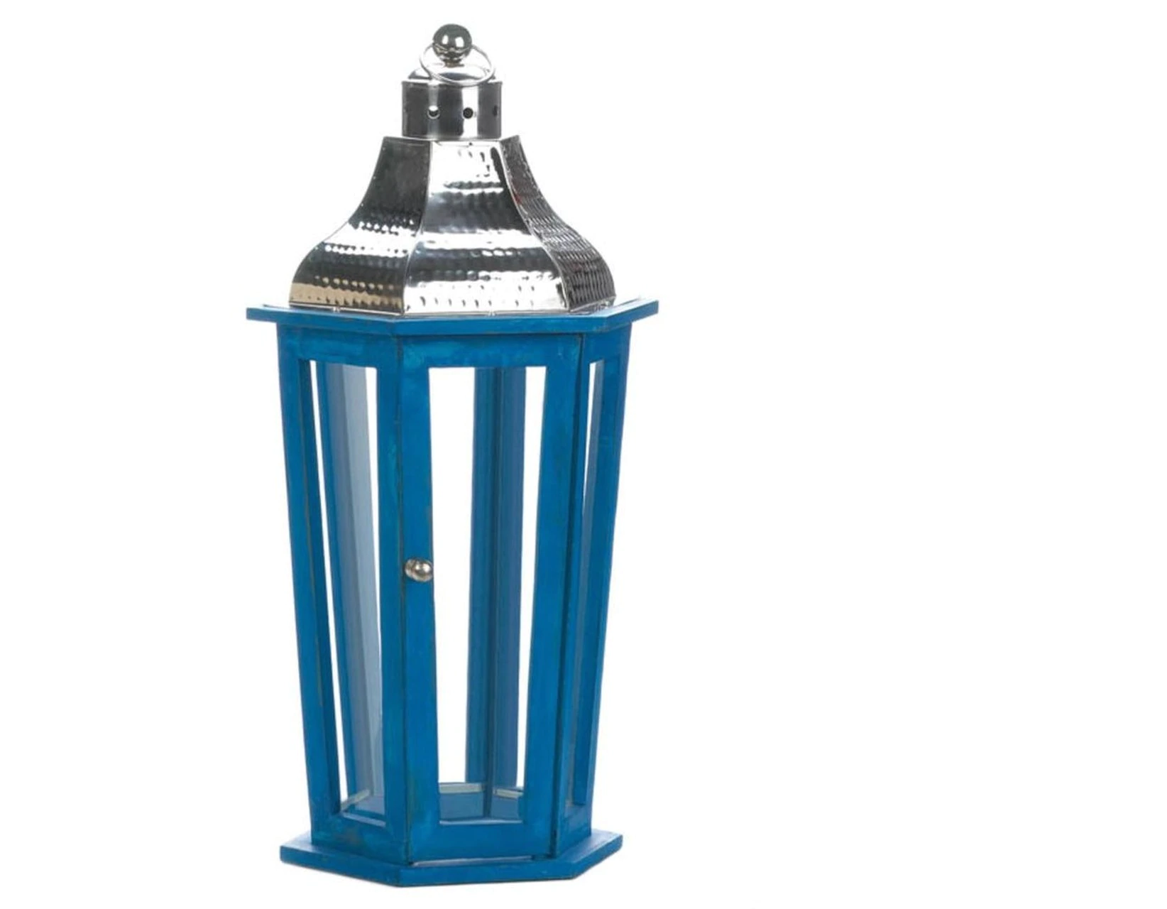 Blue Wood Candle Lantern with Stainless Steel Top - 20 inches