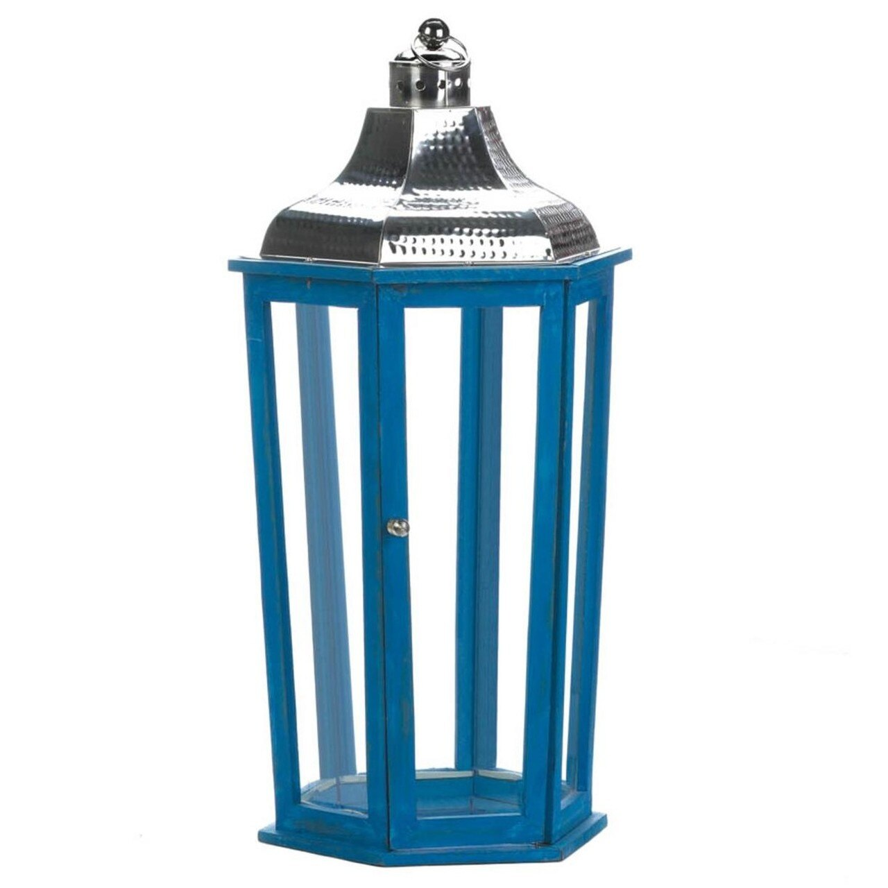 Blue Wood Candle Lantern with Stainless Steel Top - 24 inches