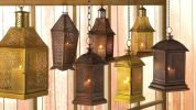 Lacy Bronzed Iron Candle Lantern - 14 inches