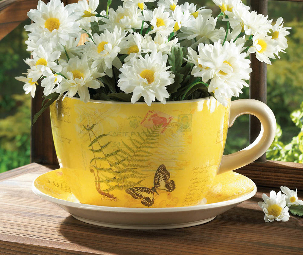 Butterfly Dolomite Tea Cup Planter - 4.5 inches