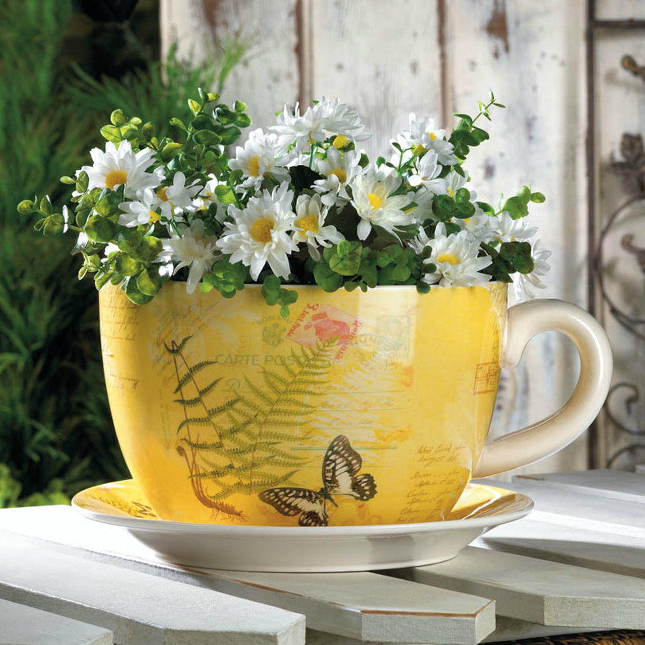 Butterfly Dolomite Tea Cup Planter - 6.25 inches