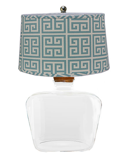 Clearview Fillable Table Lamp with Greek Key Shade
