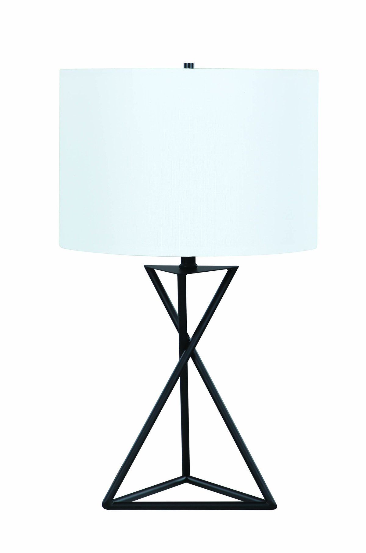 Contemporary Style Metal Table Lamp With Drum Shape Fabric Shade, White And Black - BM196751