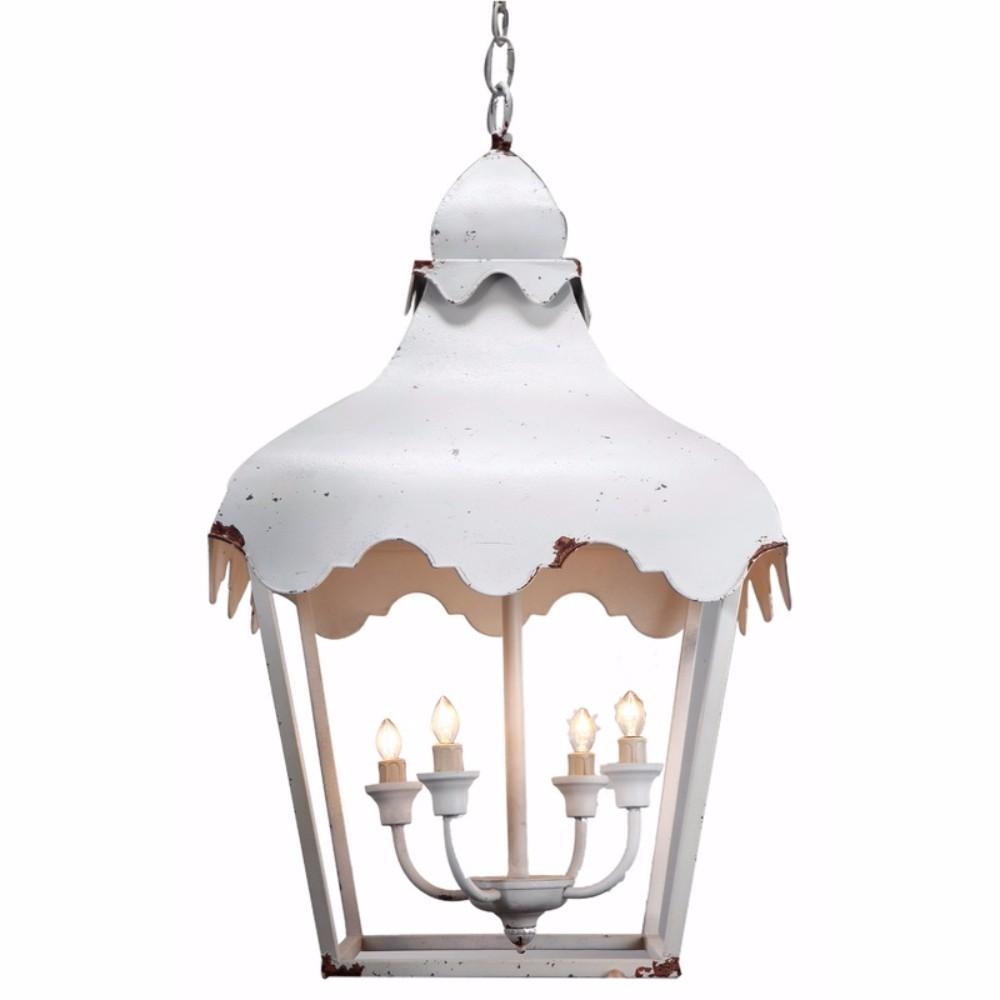 Cottage Shaped 4- Light Metal Chandelier, White