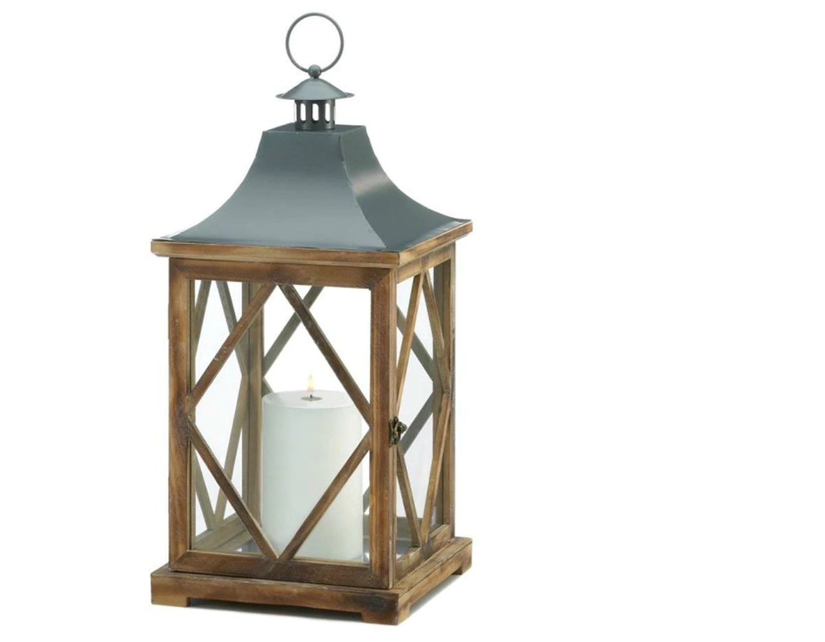 Diamond-Side Wood Candle Lantern - 20.5 inches