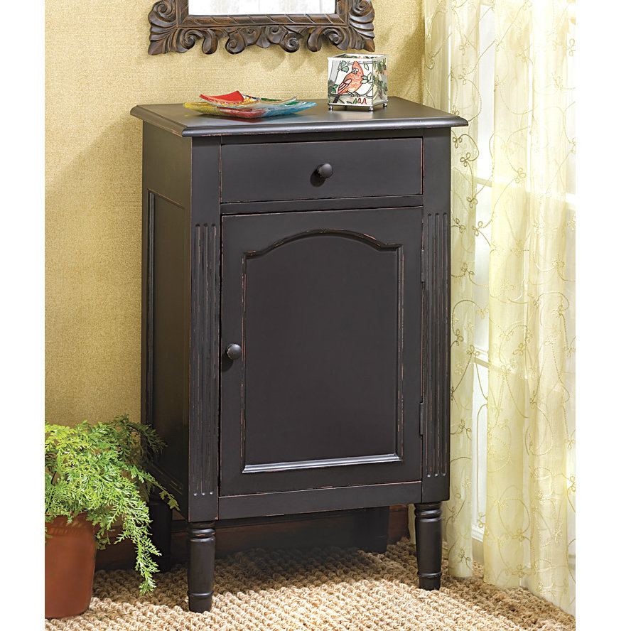 Distressed Antique-Style Black Cabinet