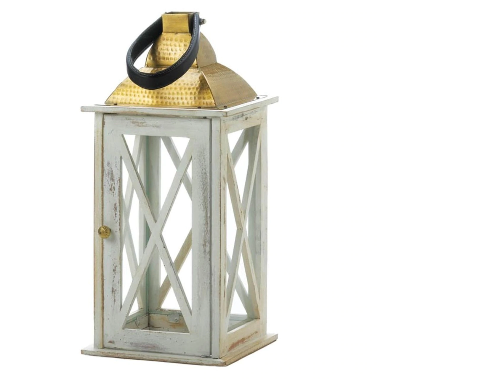 Distressed White Wood Candle Lantern with Gold Top - 19 inches
