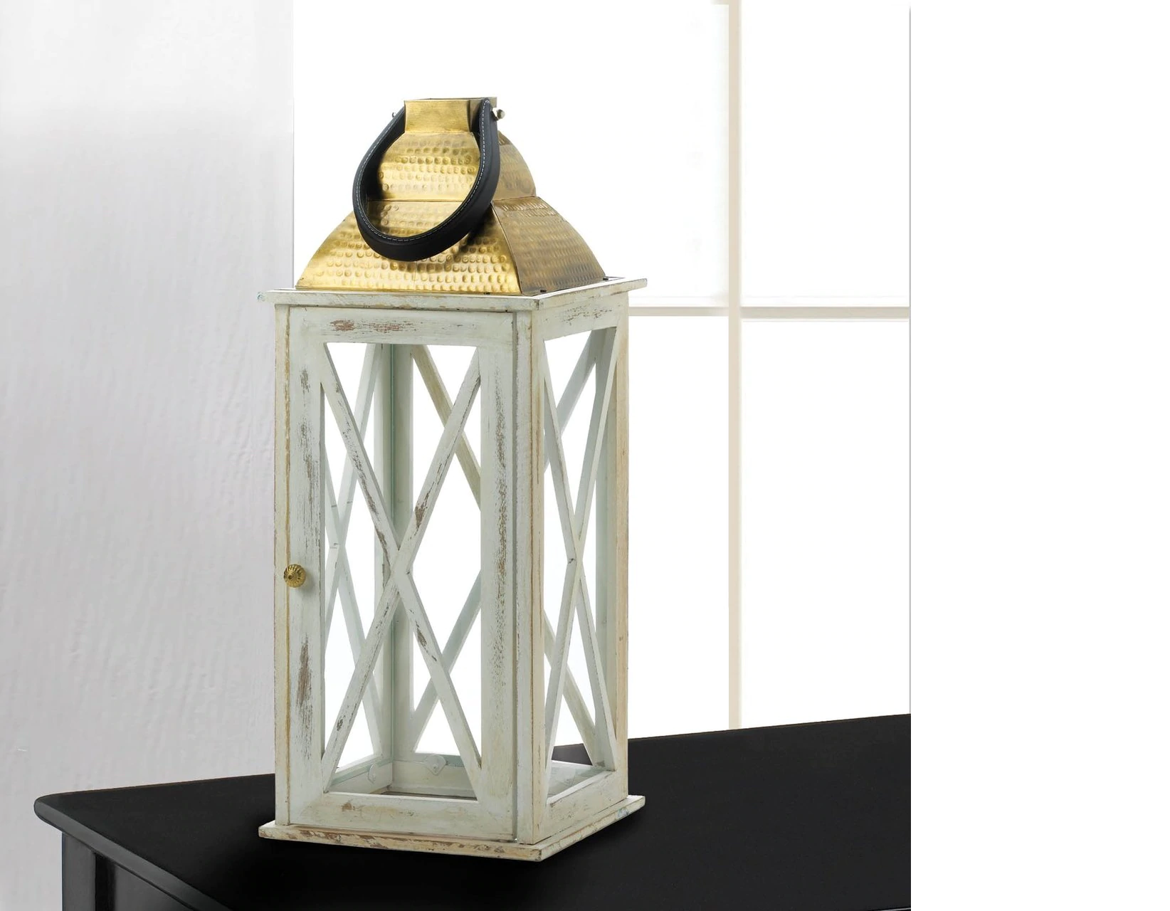 Distressed White Wood Candle Lantern with Gold Top - 24.5 inches
