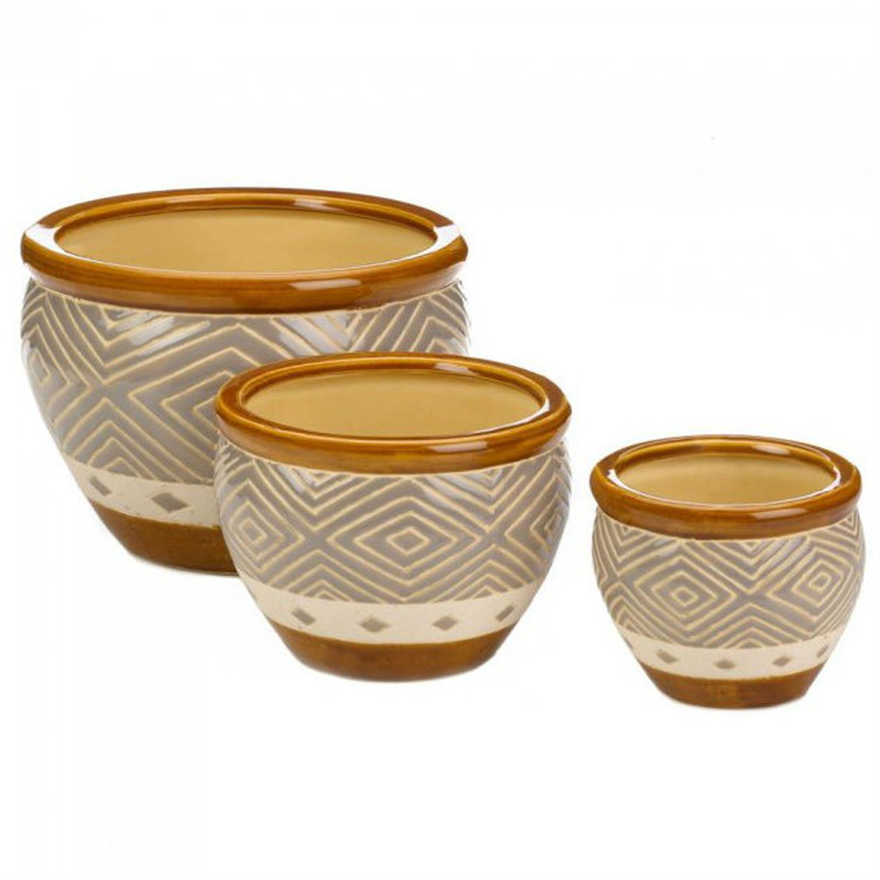 Earth-Tone Ceramic Diamond Pattern Planter Set