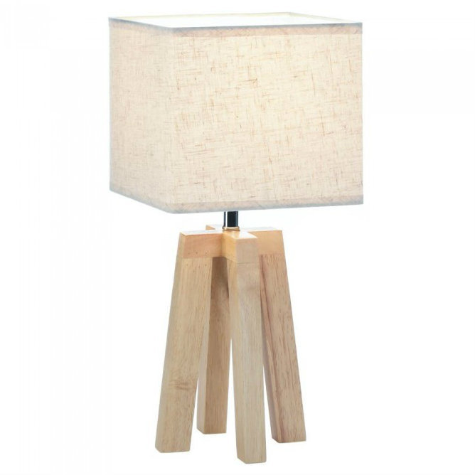 Geometric Four-Legged Wood Lamp with Square Shade