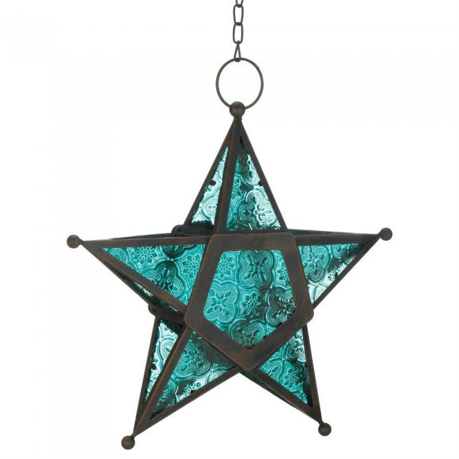 Glass Star Hanging Candle Lantern - Blue