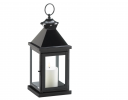 Glossy Black Metal Candle Lantern - 14.25 inches