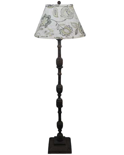 Harlan Dark Grey Floor Lamp, Cottager Lily Greystone Shade