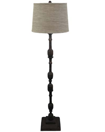 Harlan Dark Grey Floor Lamp with Soap Stone Shade