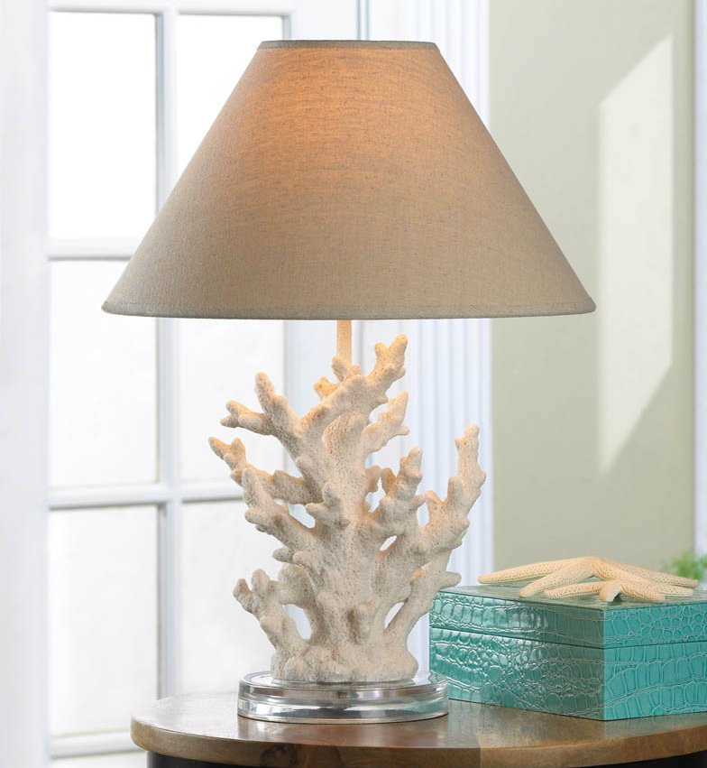 Ivory Coral Table Lamp with Fabric Shade