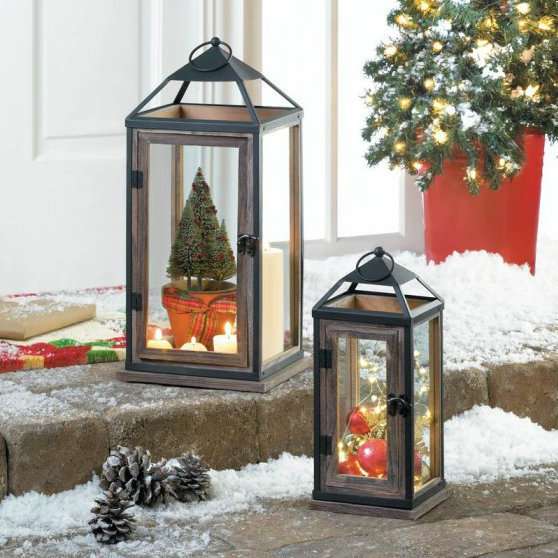Metal with Wood Trim Candle Lantern - 13 inches