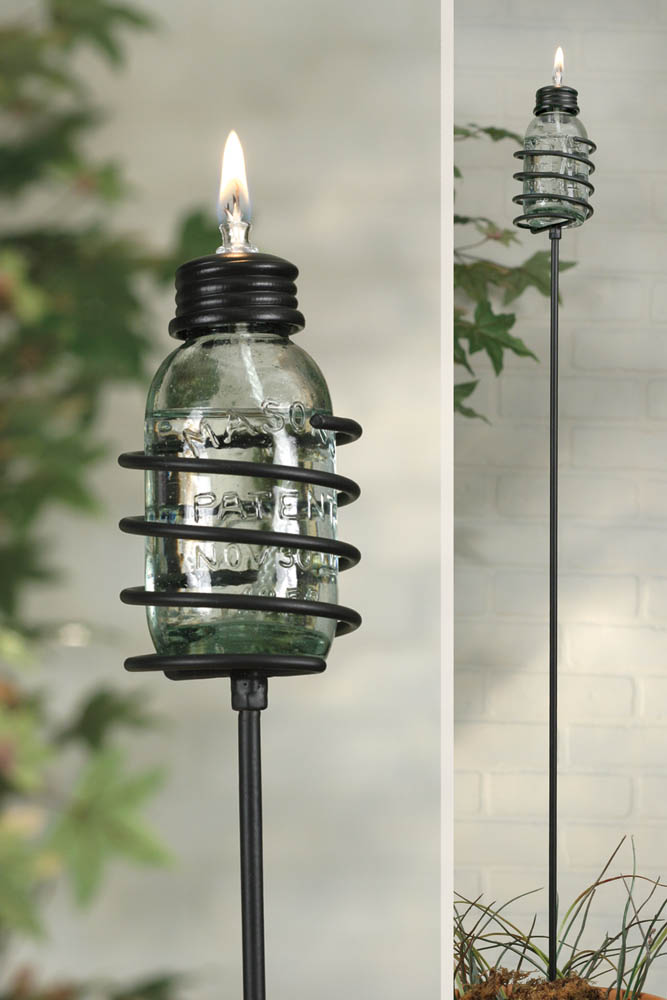 Mini Mason Jar Oil Lamp Garden Stake 6 pieces per box