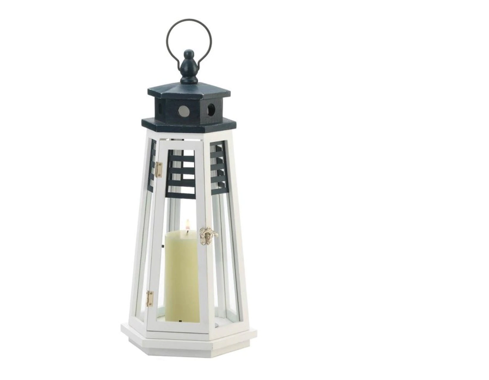Navy Blue and White Wood Lighthouse Candle Lantern - 19 inches