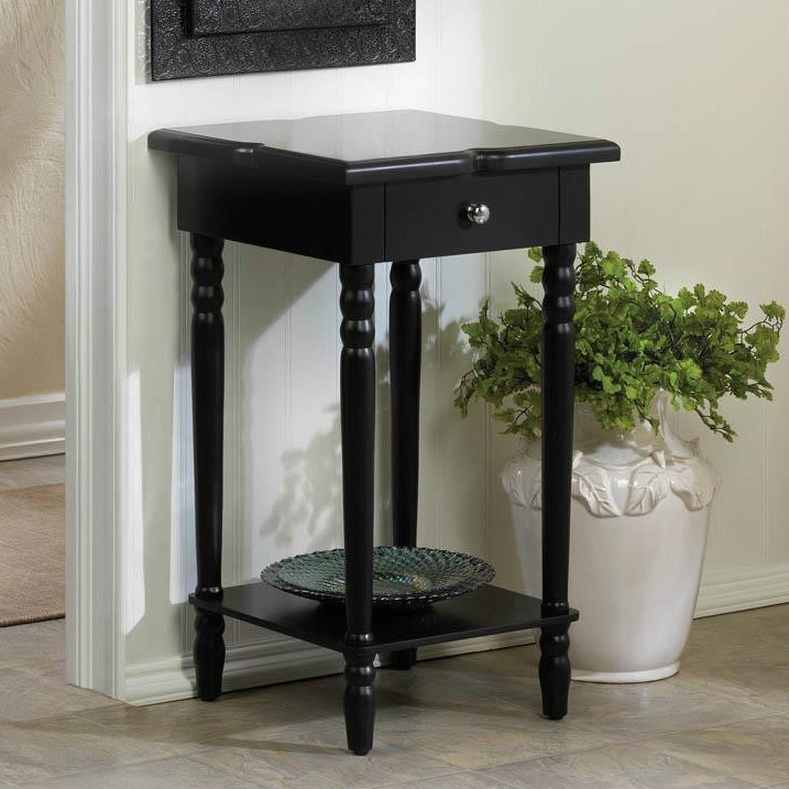 Notched Wood Black End Table