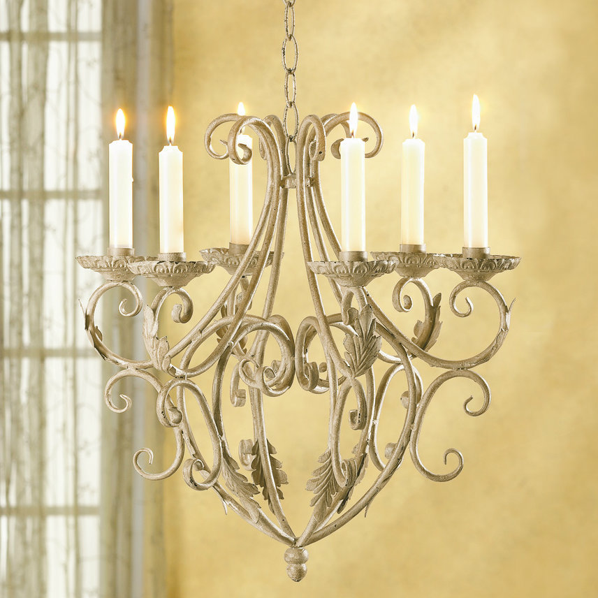 Old World Wrought Iron Candle Chandelier