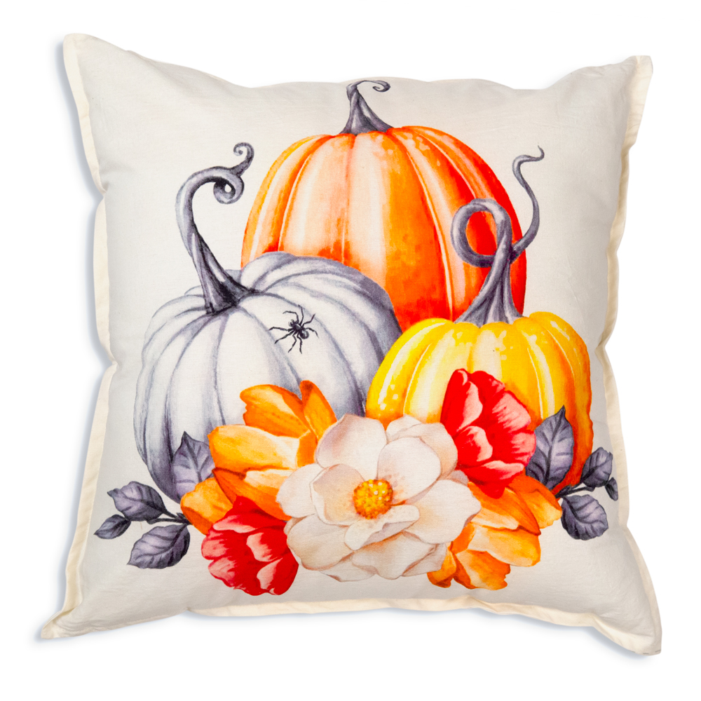 Pumpkins and Flowers Cotton Throw Pillow