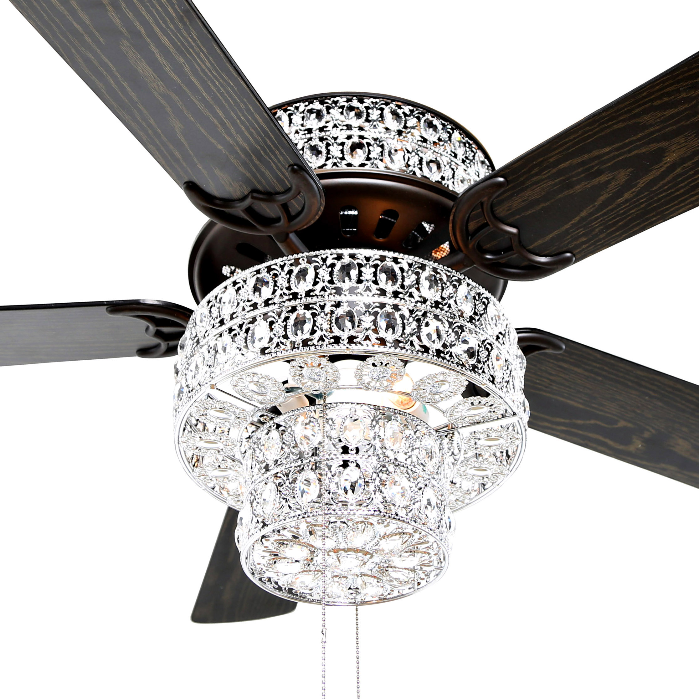 Metal and Crystal Ceiling Fan