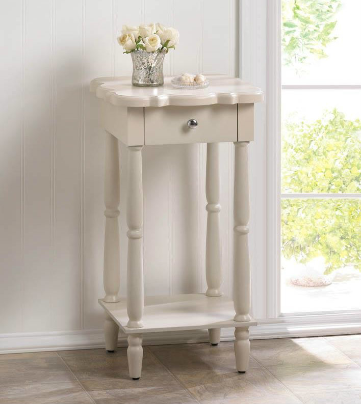 Scalloped Wood White End Table