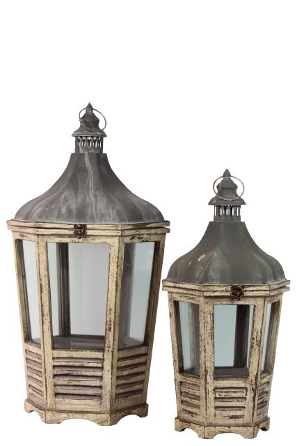 Set Of Two Wood Lantern With Cast Iron Top Metal Handle Glass And Sides