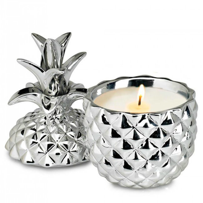 Silver Ceramic Pineapple Coconut Palm-Scented Candle