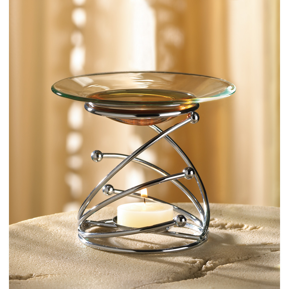 Silver Swirl Design Oil Warmer