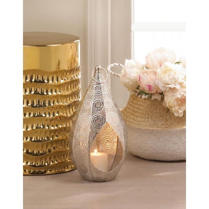 Silver Teardrop Candle Lantern - 15 inches