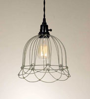 Small Wire Bell Pendant Lamp - Barn Roof (Light bulbs are not included)