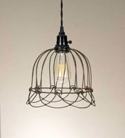 Small Wire Bell Pendant Lamp - Green/Rust (Light bulbs are not included)