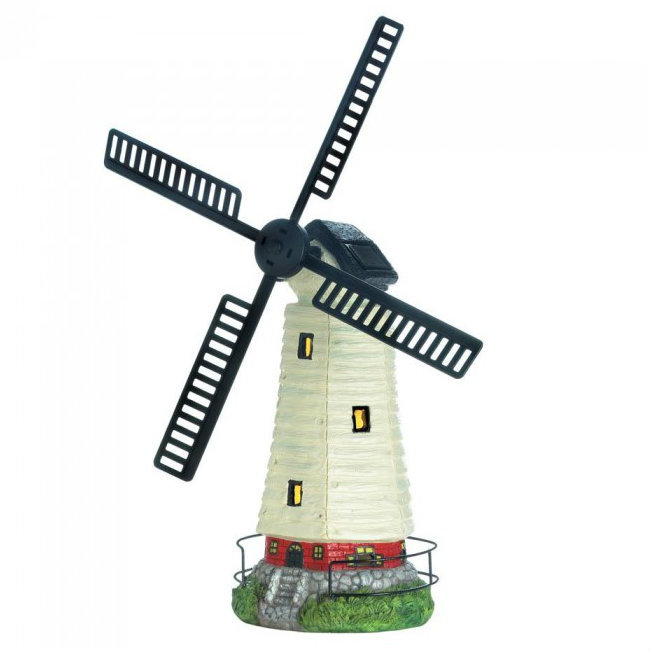 Solar Light-Up Windmill Garden Statue