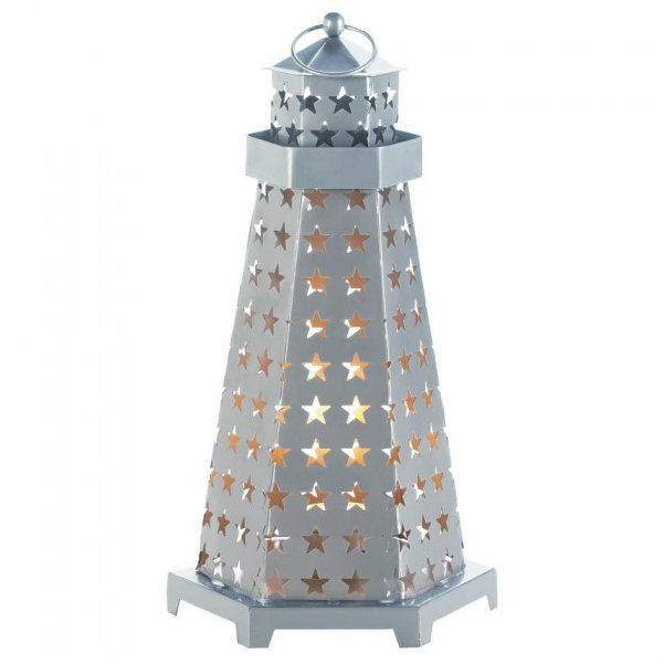 Star Cutouts Lighthouse Metal Candle Lantern