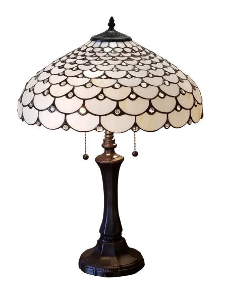 Tiffany Style Jeweled Double Lit Table Lamp 2 Light 18 Inch Wide White